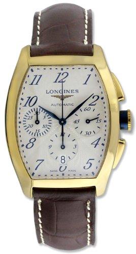 Longines Evidenza Automatic Chronograph 18k Gold Mens Strap Watch L2 643 6 73 2
