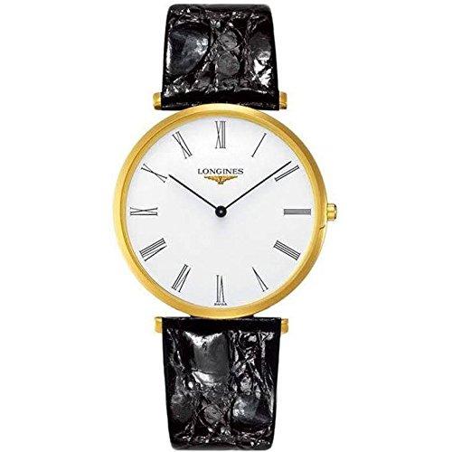 Longines Herren Armbanduhr 36mm Armband Leder Schwarz Gehaeuse Edelstahl Schweizer Quarz L4 755 2 11 2