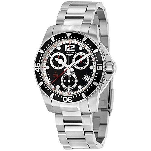 Longines Herren Armbanduhr Armband Edelstahl Gehaeuse Schweizer Quarz Zifferblatt Schwarz L37434566