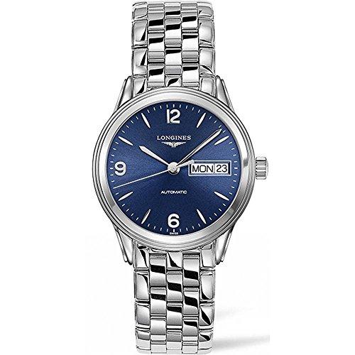 Longines Herren Armbanduhr Armband Edelstahl Gehaeuse Automatik Zifferblatt Blau Analog L47994966