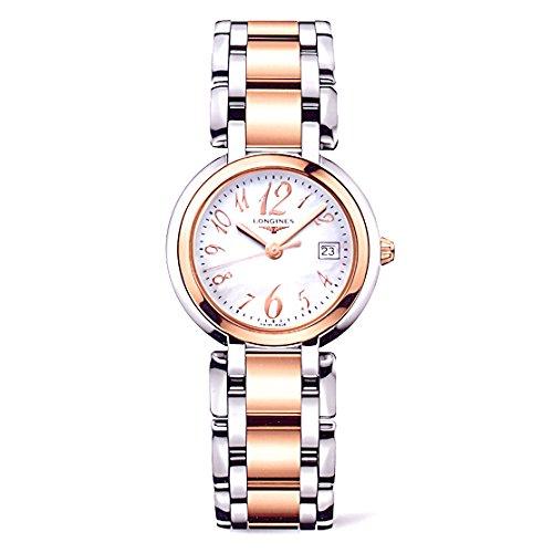 Longines Primaluna Quarz Damen Uhr mit Perlmutt Zifferblatt Analog Anzeige und Rose vergoldet Edelstahl Armband l81125836