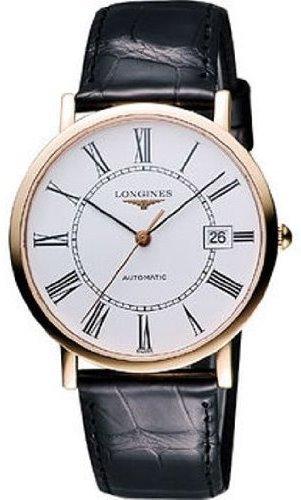 Longines Herren Schwarz Leder Band Gold Ton Stahl Armband Automatische weiss Dial l47878110