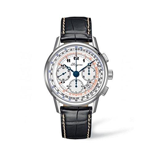 Longines Heritage Tachymeter Herren Automatik Uhr mit weissem Zifferblatt Chronograph Anzeige und schwarzes Lederband l27814132