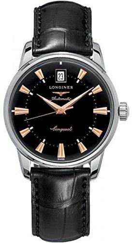 Longines Conquest Heritage Stahl mit Taktstock Zifferblatt schwarz Herren Armbanduhr Quarzuhrwerk Analog Lederband Schwarz L16414524