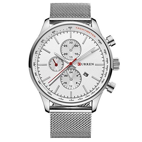 Souarts Herren Silber Farbe Analog Quarz Edelstahl Armbanduhr mit Kalender Einfach Stil Business Uhr