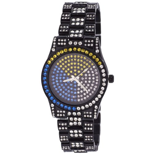 Full Iced Out Bling Zirkonia Uhr Black Multi