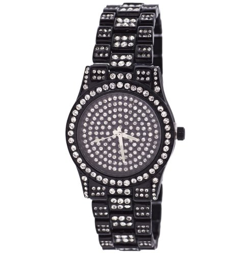Full Iced Out Bling Zirkonia Uhr Black