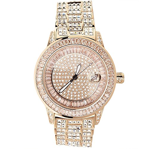 High Quality FULL ICED OUT CZ Uhr ROYAL rose gold