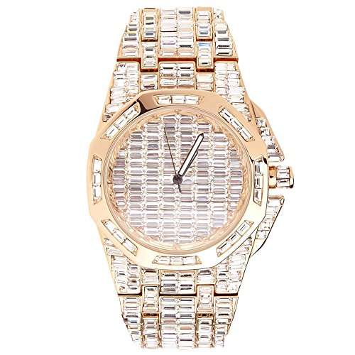 High Quality FULL ICED OUT CZ Uhr CIAO rose gold