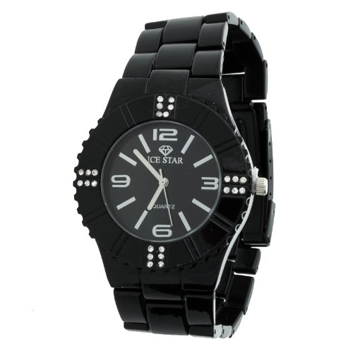 Iced Out Bling Ceramic Style Uhr black