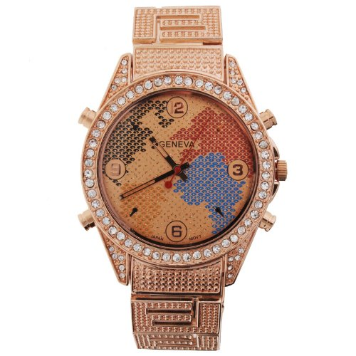 Iced Out Bling JACOB STYLE Metal Uhr WORLD MAP gold
