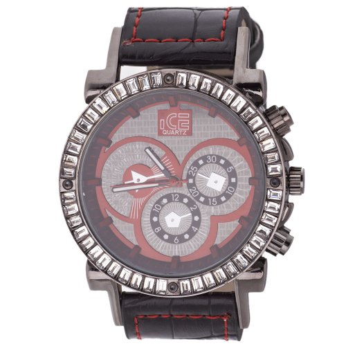 Iced Out Bling Fashion Uhr DYNAMIC schwarz rot