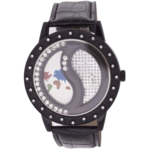 Iced Out Bling Fashion Uhr SHANGHAI Floating Style schwarz