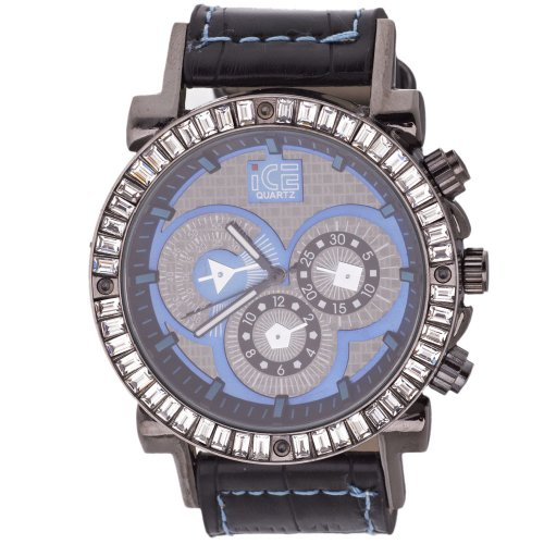 Iced Out Bling Fashion Uhr DYNAMIC schwarz blau