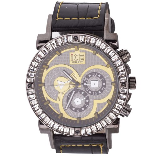 Iced Out Bling Fashion Uhr DYNAMIC schwarz lime