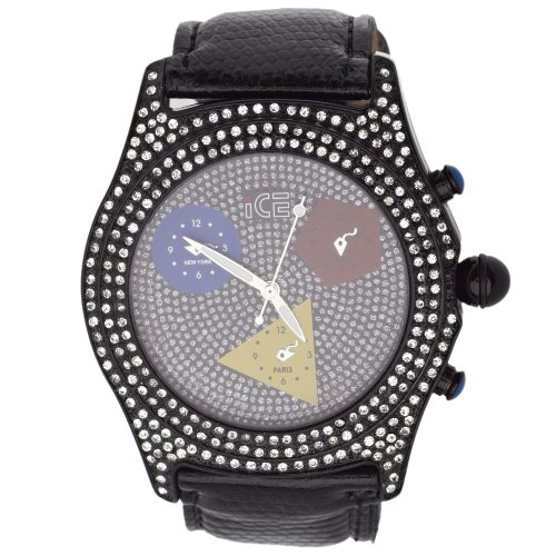 Iced Out Bling Bling Uhr COLOR TIME schwarz