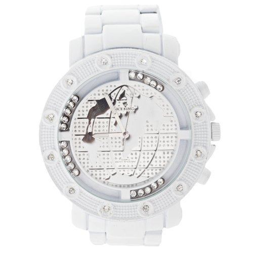 Iced Out Floating Stones Uhr White World