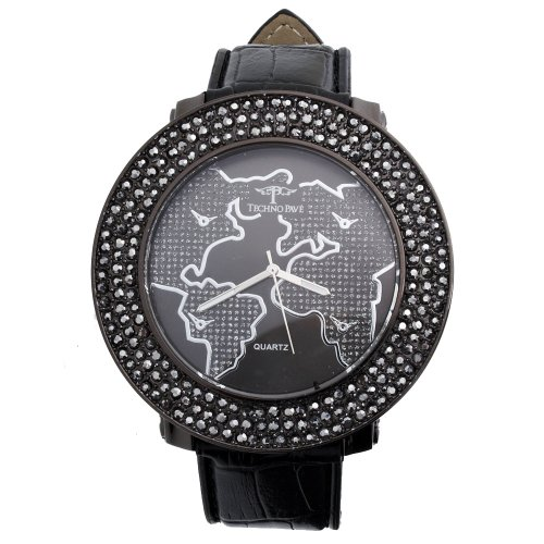 Iced Out 3 Row Pave Uhr WORLD hem black
