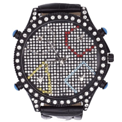 Iced Out 5 Zeitzonen Uhr MULTI BLACK
