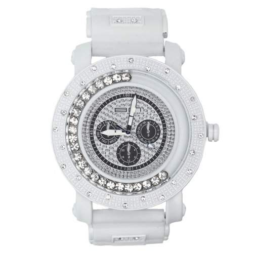 Iced Out Bling Floating Style Uhr - INSIDE weiss