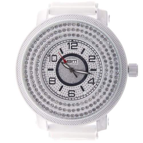 Iced Out Bling Silikon Uhr - SHINY FACE weiss