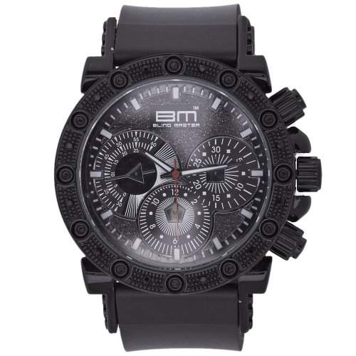 Iced Out Bling Silicone Uhr - RACER schwarz