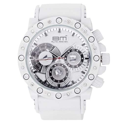 Iced Out Bling Silicone Uhr - RACER weiss