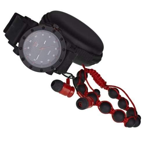Iced Out Bling Shamballa Kopfhoerer Uhr Set - schwarz  rot