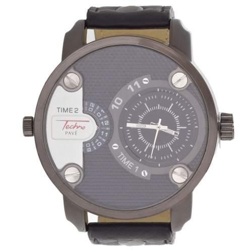 Iced Out 2 Zeitzonen Designer Uhr - TECHNO PAVE schwarz