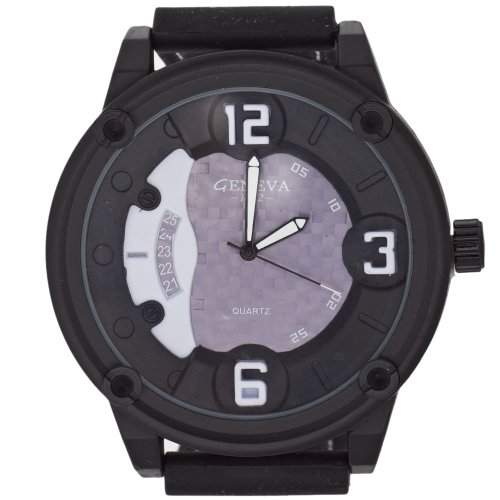 Iced Out Bling Rubber Uhr - TECHNOLY schwarz  grau