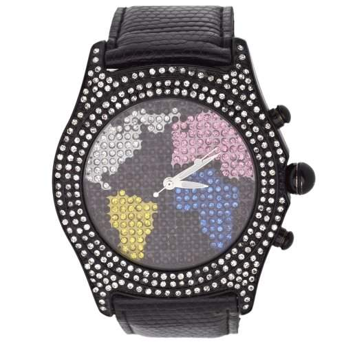 Iced Out Bling Bling Uhr - WORLD MAP schwarz