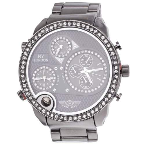 Iced Out Bling 3 Zeitzonen Designer Uhr - NY LONDON hemitate