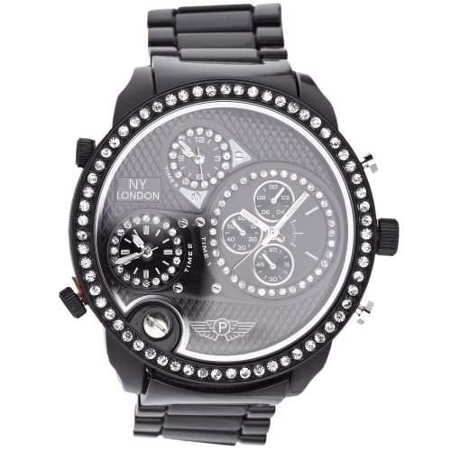 Iced Out Bling 3 Zeitzonen Designer Uhr - NY LONDON schwarz