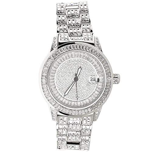 High Quality FULL ICED OUT CZ Uhr - ROYAL silber
