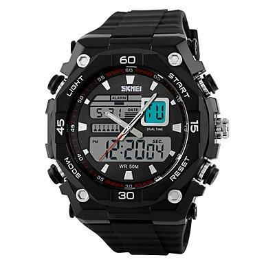 Fenkoo Japanischer Quartz LCD Kalender Chronograph Wasserdicht Duale Zeitzonen Alarm Sportuhr Caucho Band Schwarz