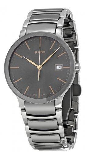 Rado Centrix Herren 38mm Grau delstahl Armband Gehaeuse Datum Uhr R30927132