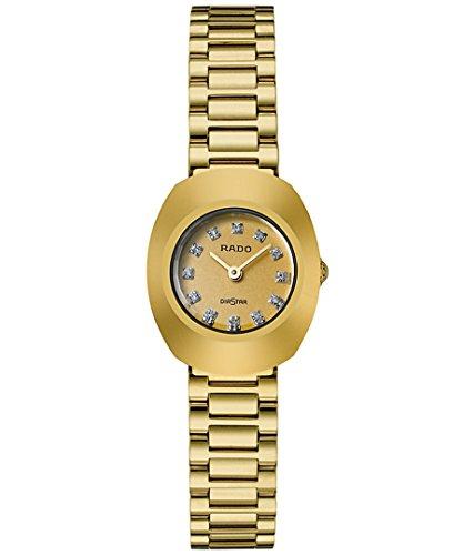 Rado Damen Armbanduhr Armband Gold beschichtetes Edelstahl Gehaeuse Edelstahl Schweizer Quarz R12559633