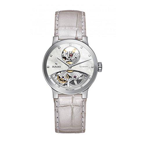 Rado Centrix Damen Armbanduhr 33mm Armband Leder Weiss Gehaeuse Edelstahl Saphirglas Automatik R30245905