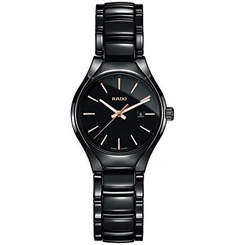 Rado Damen Armbanduhr 30mm Armband Keramik Schwarz Gehaeuse Synthetisches Saphir Batterie R27059162