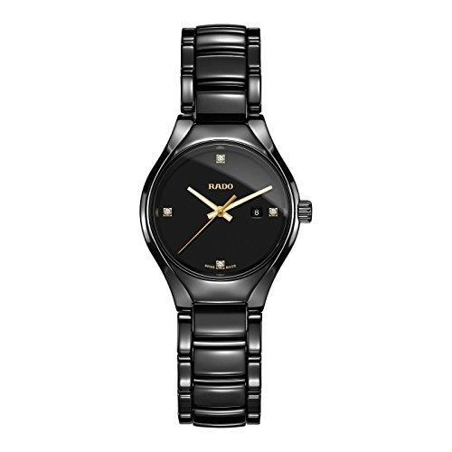 Rado TRUE Damen Armbanduhr 30mm Armband Keramik Schwarz Gehaeuse Synthetisches Saphir Batterie R27059712
