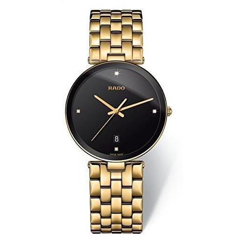 Rado Unisex Armbanduhr Armband Gold beschichtetes Edelstahl Gehaeuse Edelstahl Quarz Analog R48867714