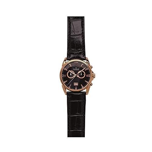 Charmex Geneva Herren 42mm Chronograph Schwarz Leder Armband Datum Uhr 2661