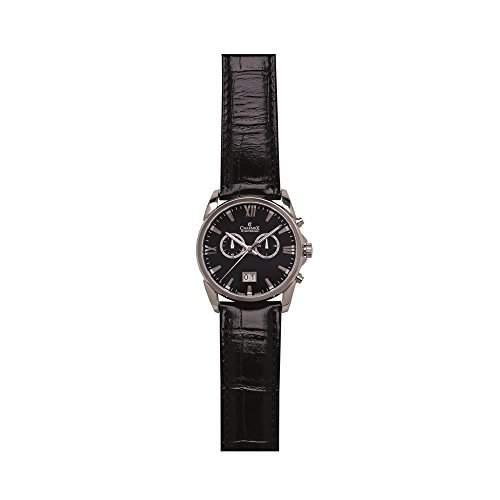 Charmex Geneva Herren 42mm Chronograph Schwarz Leder Armband Datum Uhr 2666