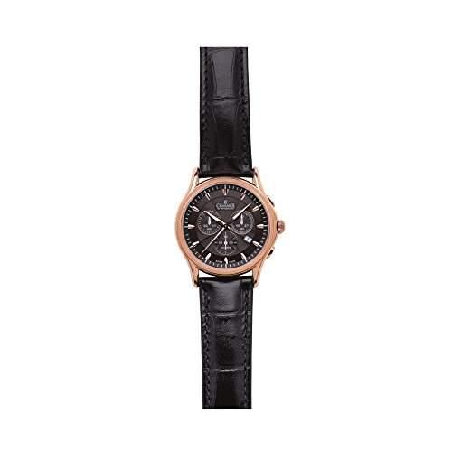 Charmex Silverstone Herren 42mm Chronograph Schwarz Leder Armband Datum Uhr 2676