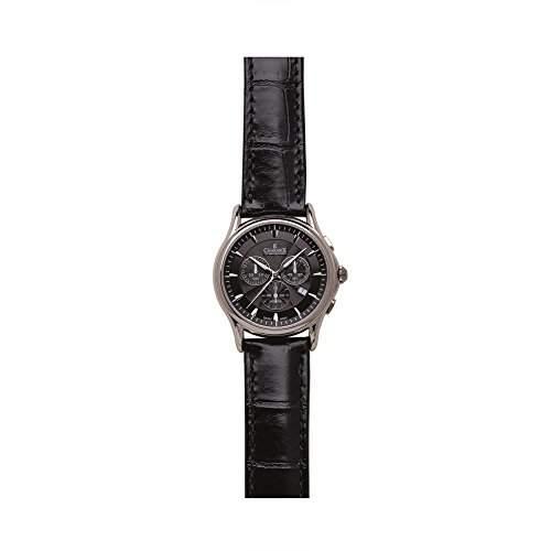 Charmex Silverstone Herren 42mm Chronograph Schwarz Leder Armband Datum Uhr 2681
