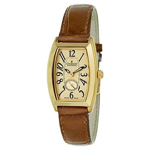 Charmex Oxford Damen Chronograph Braun Leder Armband Edelstahl Gehaeuse Uhr 5626
