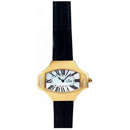 Charmex Ls Strap Watch Damen Schwarz Leder Armband Edelstahl Gehaeuse Uhr 5801