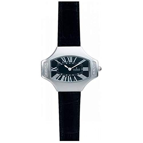 Charmex Ls Strap Watch Damen Schwarz Leder Armband Edelstahl Gehaeuse Uhr 5807