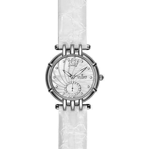 Charmex Pisa Damen 31mm Weiss Leder Armband Edelstahl Gehaeuse Uhr 6135