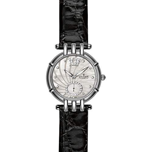 Charmex Pisa Damen 31mm Schwarz Leder Armband Edelstahl Gehaeuse Uhr 6136